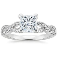 Princess Cut Infinity Diamond Engagement Ring - 18K White Gold