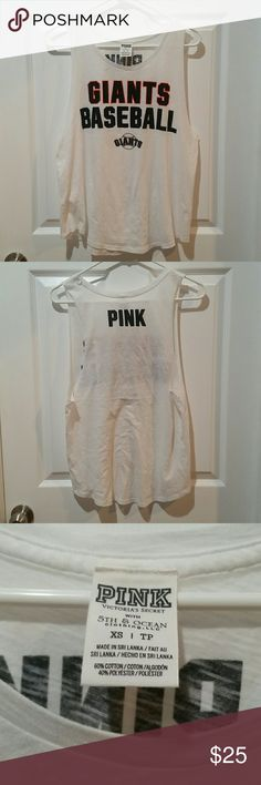VS PINK SF Giants top Excellent pre-owned condition.  Worn twice and hand washed/hung to dry. Downsizing my closet.   Size xsmall and can work for a small.  Reasonable offers will be considered. No trades or PayPal. Happy Poshing! PINK Victoria's Secret Tops