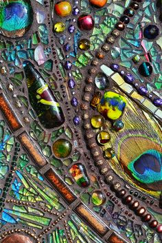 Details from ~ Mosaic peaccok mirror - Real peacock feather inlays, 71x54 cm by Nikkinella, via Flickr