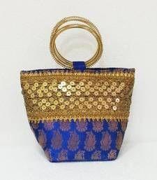 Buy Ethnic Indian Brocade Handmade Basket Clutch with Bangle Handles potli-bag online