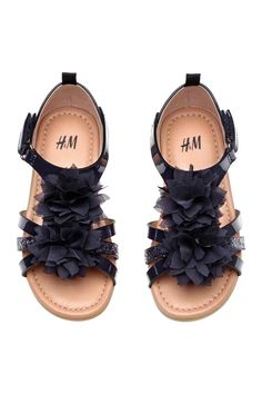 Flowery sandals - Dark blue - Kids | H&M CA