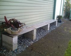 Simple cinder block bench to tie in wood planks with concrete block herb garden (yard diy cheap cinder blocks) Cinder Block Furniture, Cinder Block Bench, Cinder Block Garden, Cinder Block Ideas, Bench Block, Backyard Projects, Outdoor Projects, Diy Projects, Concrete Blocks