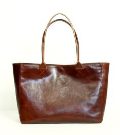 Cognac Brown Leather Tote Bag  BELLA POSH Handmade by toshibags
