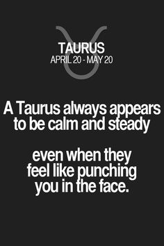 "Taurus | Taurus Quotes | Taurus Zodiac Signs: ""A Taurus always appear to be calm and steady even when they feel like punching you in the face."""