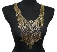 Black and Gold Lace Necklace Applique for Garments and by KBazaar