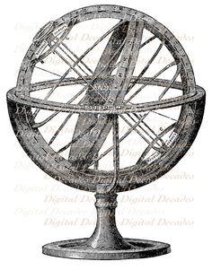 Vintage Illustration - Celestial Globe Compass Steampunk - Digital Image. $1.75, via Etsy.