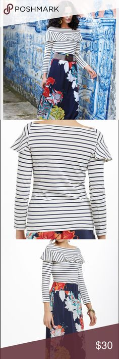 Leifsdottir striped valanced boatneck top Very versatile and cute. Great condition. Wear with florals or denim skirt. Anthropologie Tops
