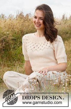 Baby Cardigan Knitting Pattern Free, Animal Knitting Patterns, Knitting Paterns, Free Knitting, Crochet Patterns, Drops Design, Spring Tops, Spring Summer, Summer Knitting