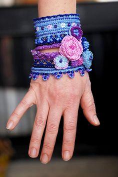 Blue Purple Pink handmade crochet cuff with by KaterinaDimitrova inspiration only no pattern