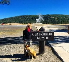 Kelli Giddish with her dog at old faithful Geyser