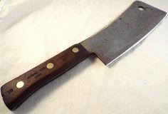 """SHARP vtg CARBON STEEL Butchers Meat Cleaver knife 5289 Dexter 8.5"""" blade 2 lb"""