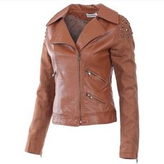 Brown Imitation Leather Jacket Brown imitation leather jacket with stud trim on shoulders!! Three front zipper pockets and Front zip opening! Zippers on sleeves!! 100% PVC. This runs a little small so order one size up!! Monoreno Jackets & Coats
