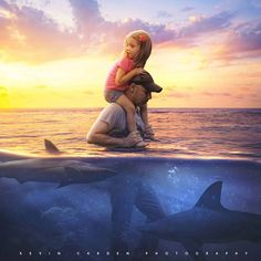 Photo about Father and daughter traveling through shark invested waters. Image of water, ocean, guide - 157286294 Father Daughter Photos, Daddy Daughter, Jesus Art, Prophetic Art, Photoshop, Sad Art, Fathers Love, Jolie Photo, Christian Art