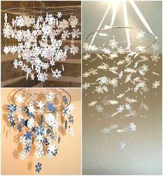 Потрясающее украшение комнаты на Новый год бумажными снежинками.   Частный Дом