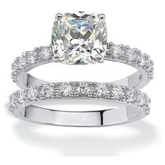 Palm Beach Jewelry PalmBeach 2.45 TCW Princess-Cut Cubic Zirconia... ($65) ❤ liked on Polyvore featuring jewelry, rings, sterling silver band rings, wide sterling silver rings, bridal rings, cz rings and sterling silver rings