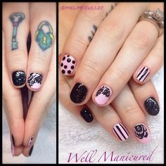 It's always a pleasure to have the ultimate in cool chicks come for a nail visit! Super cute pink-n-black gel mani for @thecherrydollface. Gel colors: #PinkSmoothie, #BlackShadow