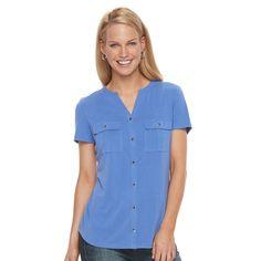 Petite Croft & Barrow® Button-Down Pocket Shirt, Women's, Size: Xl Petite, Blue (Navy)