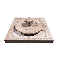 Our marble lotus fountain is hand-carved from solid marble. The carving depicts a raised lotus and floral relief. Perfect for a garden or hotel courtyard. India Architecture, House Gate Design, Krishna Art, Silhouette Art, Garden Spaces, Stone Art, White Marble, Table Furniture, Water Features