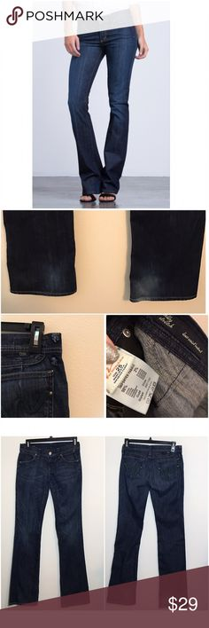 """Citizens of Humanity Kelly Low Waist Bootcut 25/34 These jeans are in GUC. 25/34. Dark wash with whispering and fading. Some wear on bottom of pant legs and there is a missing belt loop(all pictured). Both of those aren't very noticeable at all!  98% Cotton, 2% elastane. Waist measures 14.25"""" across laying flat. Citizens of Humanity Jeans Boot Cut"""
