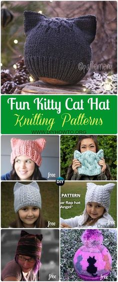 Collection of Fun Kitty Cat Hat Knitting Patterns Free and Paid Size Baby to Adult, Knit Cat Ear Hat; Cable Cat Hat, Cat White Whiskers Hat and more