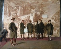 """British artist Sir William Nicholson depicts five Canadian generals and one major of the First World War standing unposed in front of a mural of the bombed Ypres Cathedral and Cloth Hall. This unfinished painting originally commissioned by Lord Beaverbrook was quickly forgotten, only to be rediscovered in the vaults of the Canadian War Museum and later hailed as Nicholson's finest work. Painting measures 95.7"""" high x 113.9"""" Wide"""