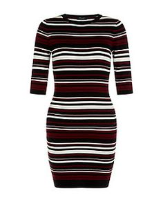 Petite Red Ribbed Stripe Mini Dress  | New Look