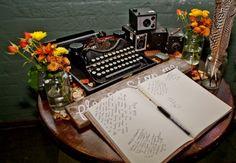 typewriter prop and vintage cameras