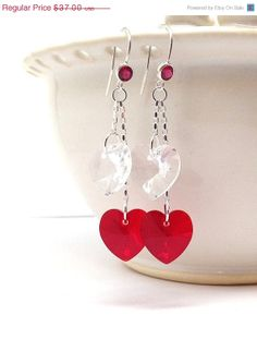 Valentines Day Sale Large Heart Earrings Red by GirlBurkeStudios, $33.30