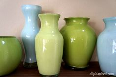 Painted Colored Glass Vases - paint the inside! EASY PEASY!