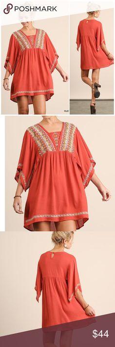 Rust Embroidered Kimono Sleeve Boho Dress Rust Embroidered Kimono Sleeve Boho Dress  60% Cotton; 40% Polyester  Fits true to size Umgee Dresses