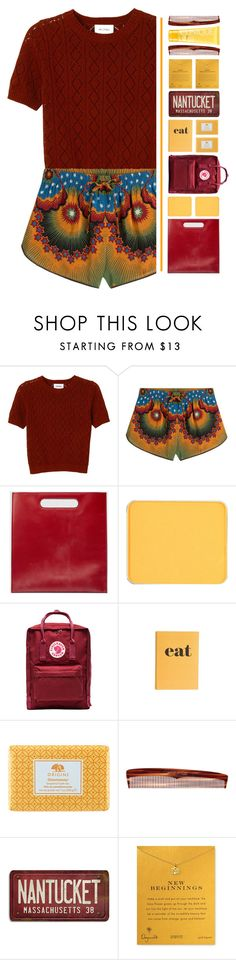 """""""Red."""" by pineapples-2 ❤ liked on Polyvore featuring Monki, Valentino, Gucci, shu uemura, Fjällräven, Jayson Home, Origins, Mason Pearson, Dogeared and Clinique"""