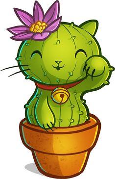 'Cat-ti can flower' Sticker by RemcoBakker Cute Kawaii Drawings, Cute Animal Drawings, Cartoon Drawings, Cactus Cartoon, Cartoon Flowers, Cactus Cat, Cute Flower Drawing, Cactus Drawing, Kaktus Illustration