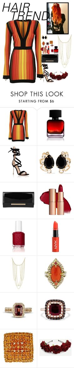 """""""Hair Trend:Orange/Red fire hair"""" by fashion-nova ❤ liked on Polyvore featuring beauty, Balmain, The Collection by Phuong Dang, Gianvito Rossi, Bounkit, Jimmy Choo, Essie, NYX, Adoriana and Cathy Waterman"""