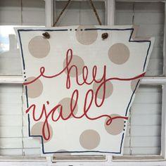 Arkansas Patriotic hey y'all Door Hanger by arhale4 on Etsy