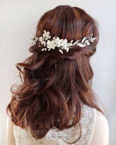 bridal hair vine, white hair flower, bridal hair piece, wedding headpiece, white hair comb, bridal h