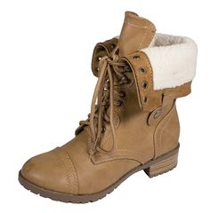 Lustacious Women's Mid-Calf Lace Up Military Combat Foldable Faux Shearling Fur Boots -- Check out the image by visiting the link. (This is an Amazon affiliate link)