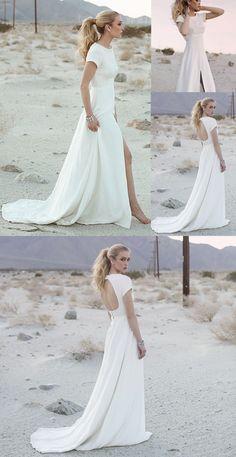 long wedding dress, white wedding dress, wedding dress with slit, open back wedding dress, boho wedding dress