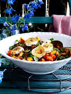 Kürbis-Linsen-Salat mit Ziegenkäse und Walnüssen