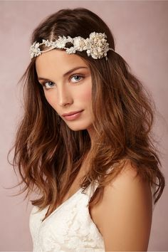 25 Romantic Vintage-Inspired Bridal Hair Styles and Head Pieces! ♥ Jannie Baltzer's Carmen bridal halo is inspired by the spirit of French bohemia, created from applique lace flowers, crystals and glass beads. Check out Jannie Baltzer's 2015 Collection here.