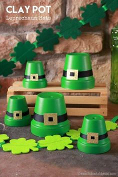 Need some fun St. Patrick's Day decor? These clay pot leprechaun hats are super cute and you can make one to represent each member of your family!
