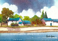 Original Watercolour English Village Scene with pond