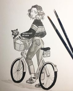 "6,294 Likes, 38 Comments - Judit Mallol (@juditmallolart) on Instagram: ""Inktober day 4 ✨ Running morning errands with fluffy company~  #inktober #inktober2017"""