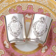 "RARE PAIR Antique French Sterling Silver ""Timbale"" Wine Cup or Tumblers, His & Hers, Mint Julep"