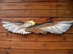 Flying Pelican 4 foot chainsaw wood carving sea by oceanarts10, $149.00