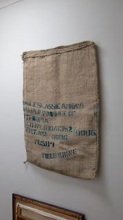 Tutorial to make wall hanging, bean bag, and chair cushions from coffee sacks coming soon on teapotandsnail.etsy.com.