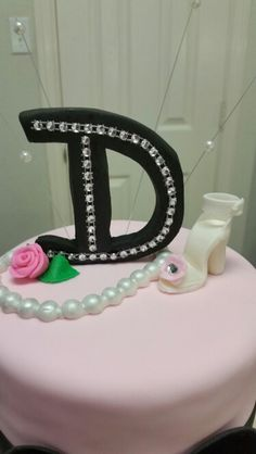 "Amy's Crazy Cakes - Fondant ""D"" with bling, high heel shoe, and pearls cake topper"