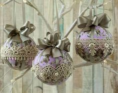 Shabby Chic Christmas ornaments, bauble set, fabric tree decorations, lace decor, Christmas baubles, Shabby chic gift, handmade decorations