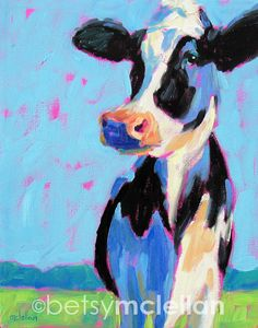 Cow  Cow Art  Animal Art  Cow Painting  by betsymclellanstudio, $45.00