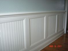Combination beadboard/ board and batten wainscoting.