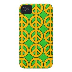 Yellow Peace Sign Pattern Green Background iPhone 4 Case-Mate Case